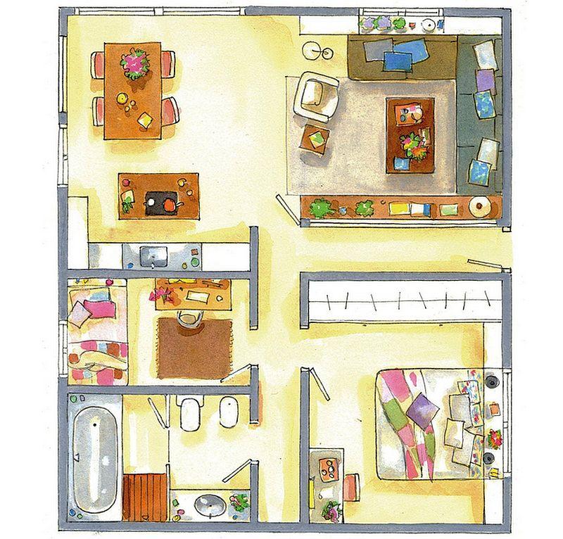 adelaparvu.com despre amenajare locuinta trei camere 90 mp, bilioteca in jurul ferestrei, Foto ElMueble (11)