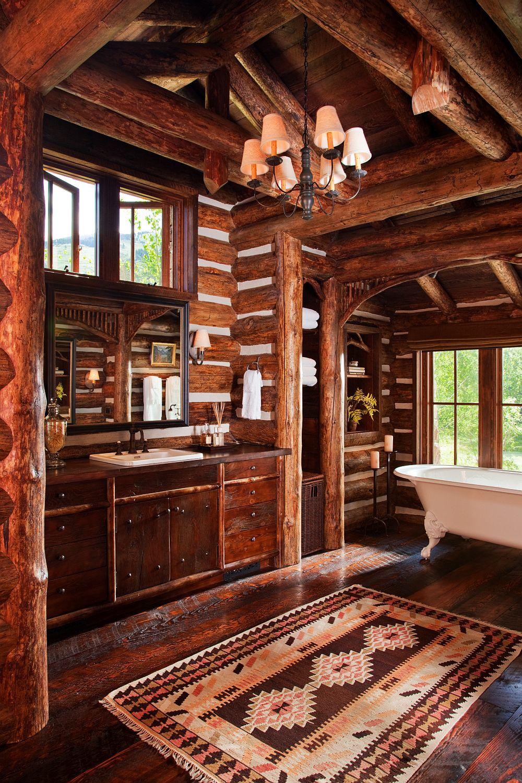 adelaparvu.com despre cabana din barne de lemn in Montana, design Miller Architects, casa lemn SUA, casa lemn Paradise Valley (6)