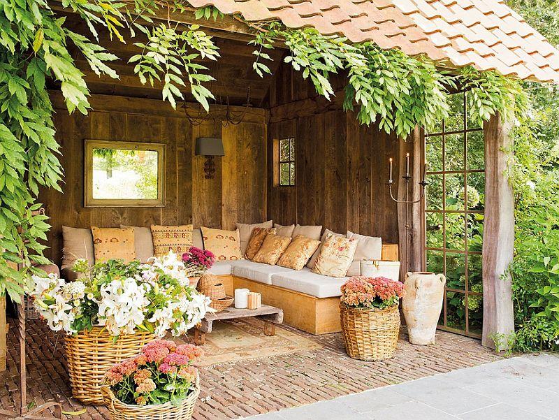 Culori naturale la interiorul unei case rustice cu terase - Casas pequenas con porche y jardin ...