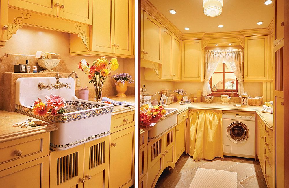 adelaparvu.com despre idee mobilier bucatarie rustica, galbena, proiect spalatorie Golden Gate Kitchens (1)