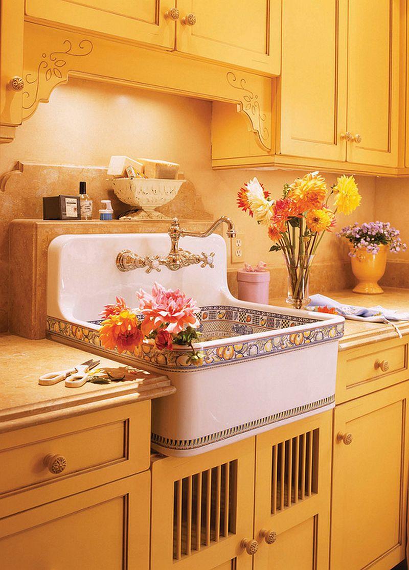 adelaparvu.com despre idee mobilier bucatarie rustica, galbena, proiect spalatorie Golden Gate Kitchens (3)