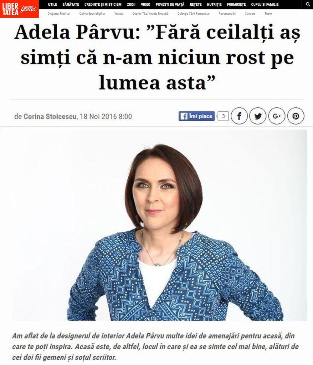 adelaparvu.com despre interviu Adela Parvu in Libertatea pentru Femei 2016
