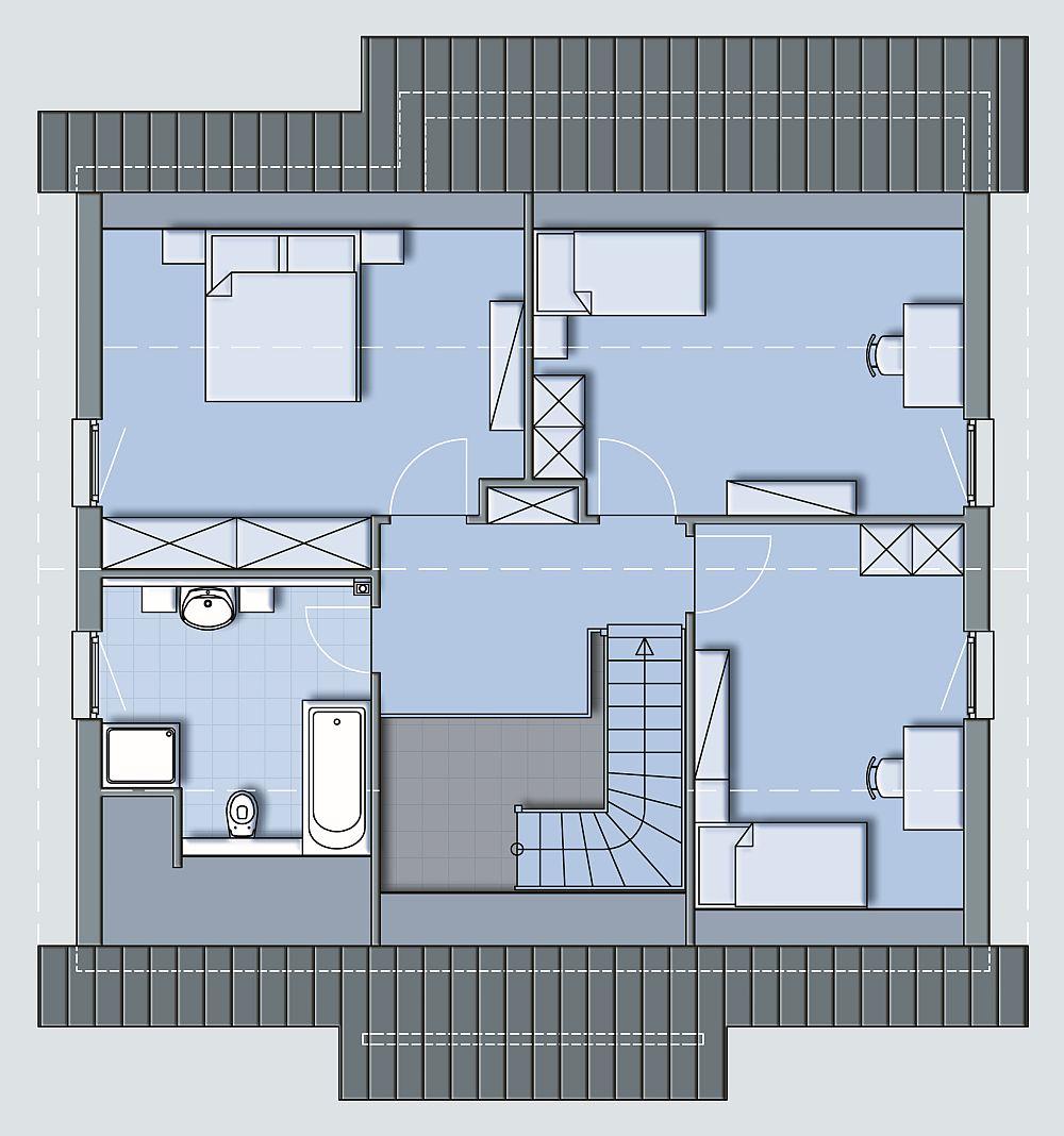 Pan mansarda - baie, trei dormitoare si casa scarilor