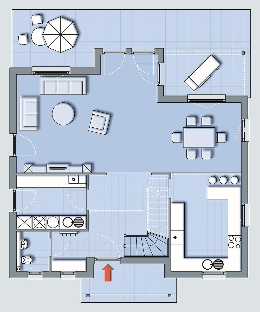 Plan parter - baie, bucatarie, camera pentru centrala termica si spaltorie, sufragerie, living