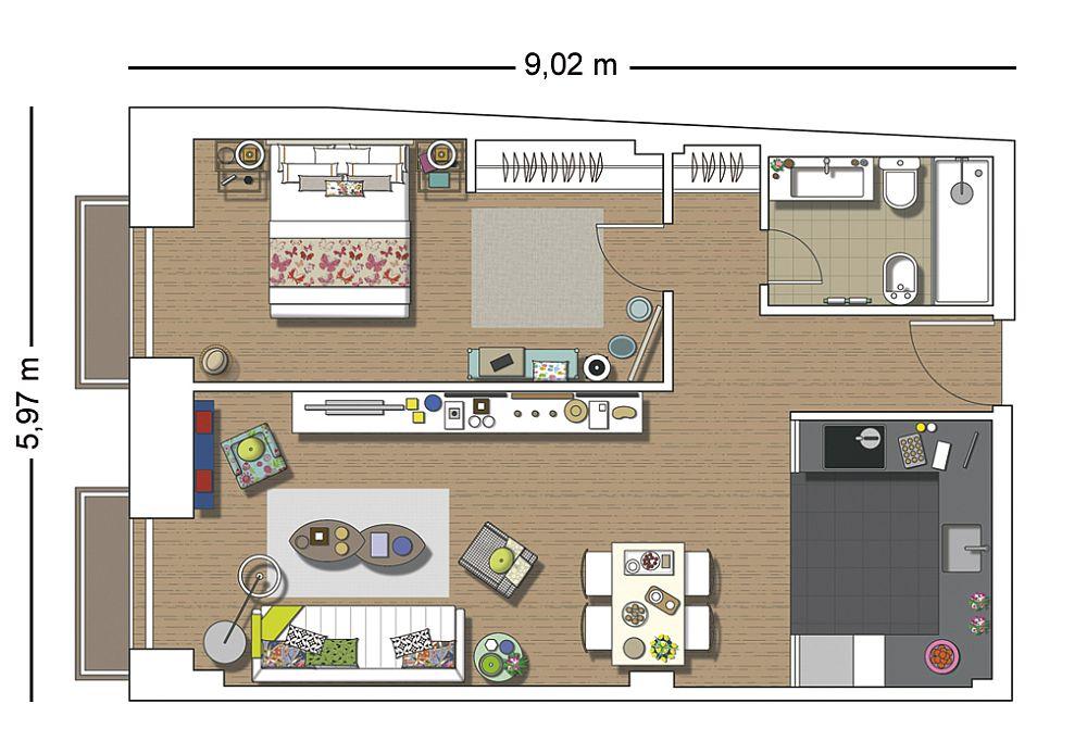 adelaparvu.com despre apartament de doua camere, locuinta 66 mp, designer Pili Molina, Mas Fotogenica (14)