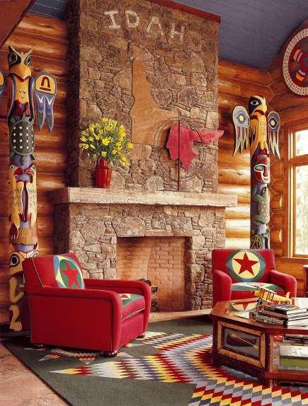 adelaparvu.com despre cabana din barne de lemn cu interioare rustic colorate, designer Antony Barata (2)