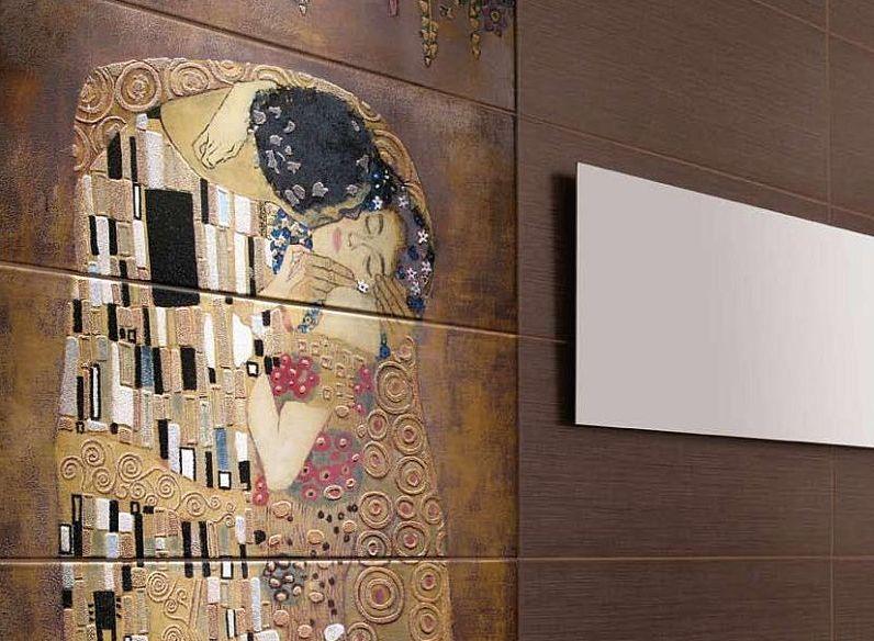 adelaparvu.com despre placi ceramice colectia Pasion Mural Ceramica Latina cu model Gustav Klimt