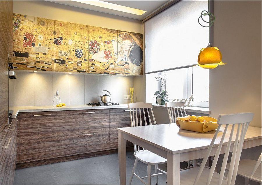 adelaparvu.com despre apartament 2 camere 48 mp cu reproduceri dupa Klimt, design Pink Pug Design, Polonia (1)