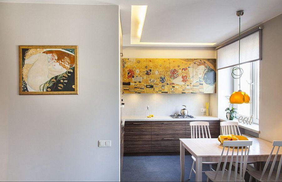 adelaparvu.com despre apartament 2 camere 48 mp cu reproduceri dupa Klimt, design Pink Pug Design, Polonia (6)