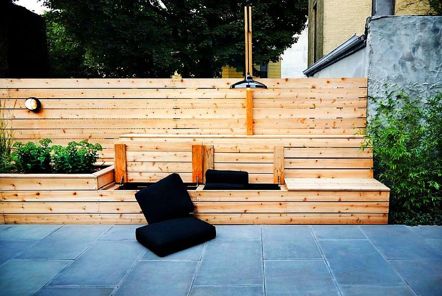 adelaparvu.com despre banci si constructii de lemn in gradina, Foto New Eco Landscapes