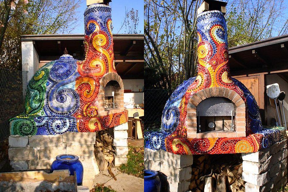 adelaparvu.com despre cuptor de paine in gradina decorat cu mozaic, artist Frances Green (6)