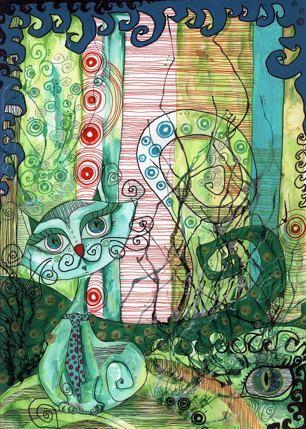 adelaparvu.com despre O povEstetica, expozitie la Pallets, artist Alina Borcea, lucrare Cat with tie