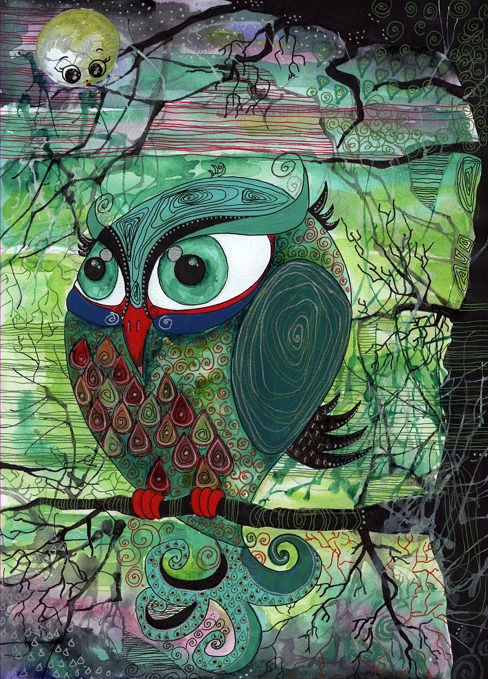 adelaparvu.com despre O povEstetica, expozitie la Pallets, artist Alina Borcea, lucrare Owl at dawn