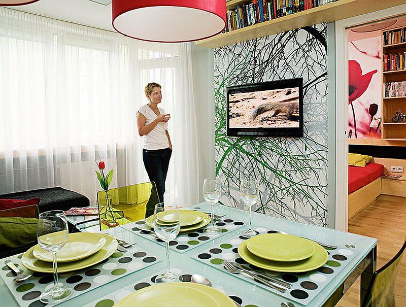adelaparvu.com despre apartament bloc 50 mp decorat cu fototapet, designer Krystyna Mikolajska  (2)