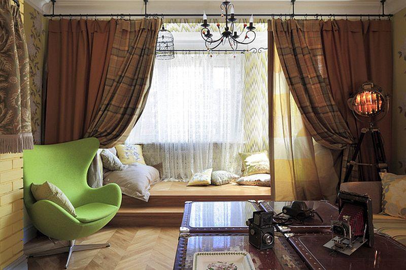 adelaparvu.com despre apartament de bloc 55 mp cu multe draperii, locuinta Moscova, Foto AD (1)