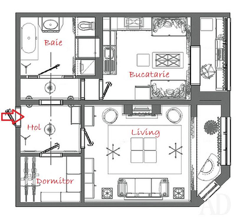 adelaparvu.com despre apartament de bloc 55 mp cu multe draperii, locuinta Moscova, Foto AD (2)