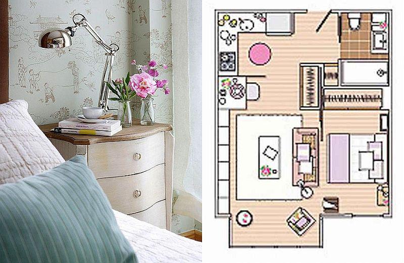 adelaparvu.com despre apartament mic 40 mp cu living separat de dormitor cu usa glisanta (2)