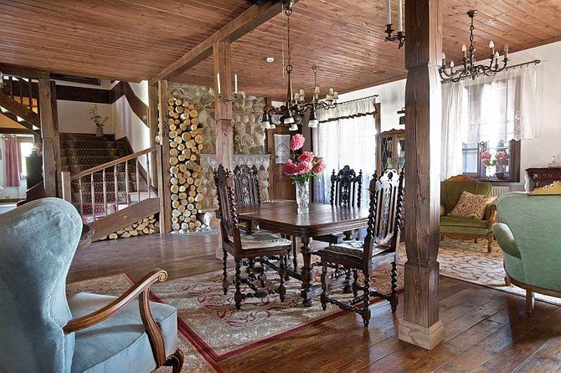adelaparvu.com despre casa rustica din lemn cu interior clasic, casa Polonia, pensiune Stanica Rzeczna (4)