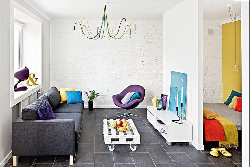 adelaparvu.com despre garsoniera colorata si moderna, design interior Maja Zalewska si Marek Kostykiewicz (1)