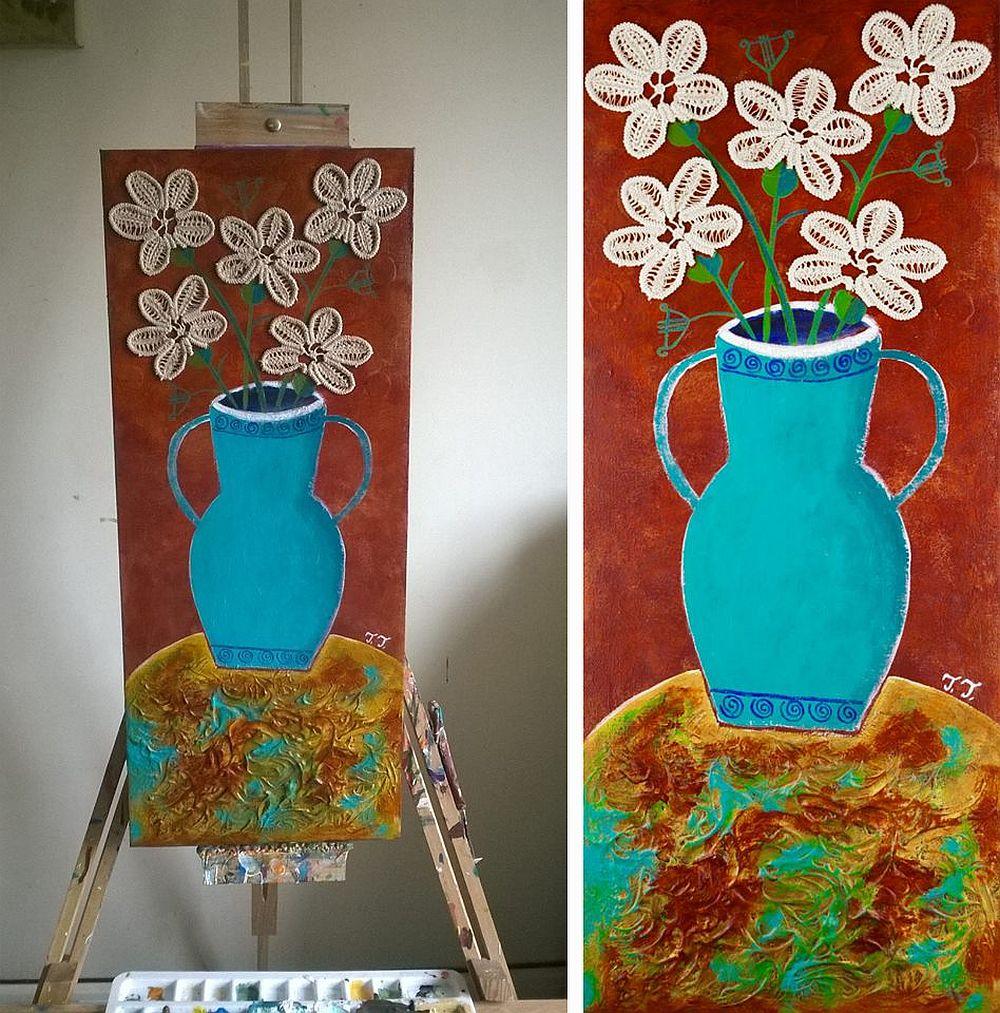 adelaparvu.com despre picturi naive cu macrameuri, artist Teodora Totorean (9)