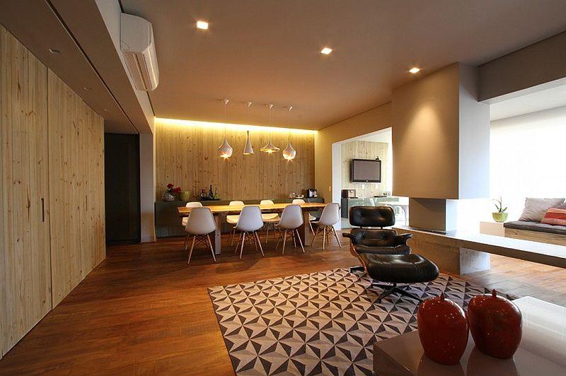 adelaparvu.com despre apartament modern cu pereti imbracati in lemn, arhitecti Veridiana Tamburus si Fabio Storrer (1)
