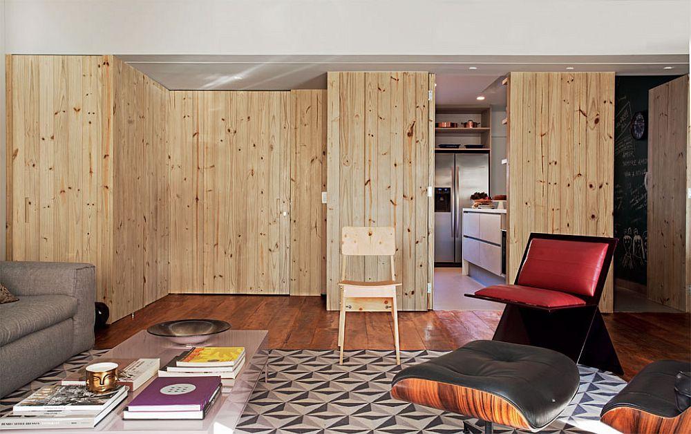 adelaparvu.com despre apartament modern cu pereti imbracati in lemn, arhitecti Veridiana Tamburus si Fabio Storrer (11)