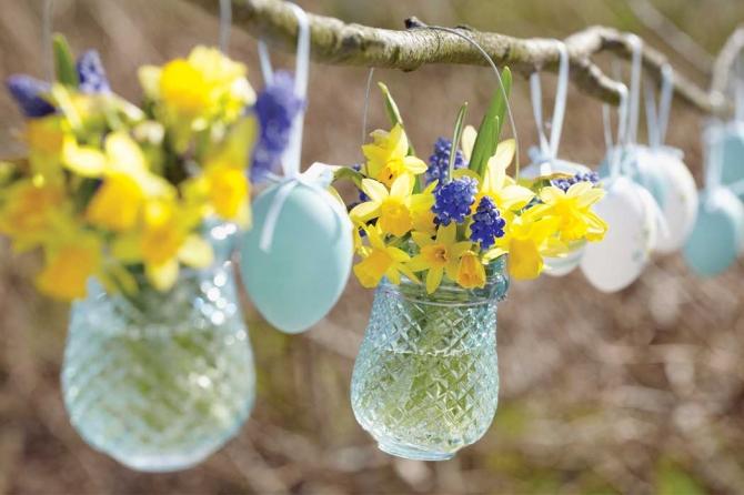 adelaparvu.com despre aranjamente cu oua si flori pentru masa de Paste, Foto Weranda Country (6)