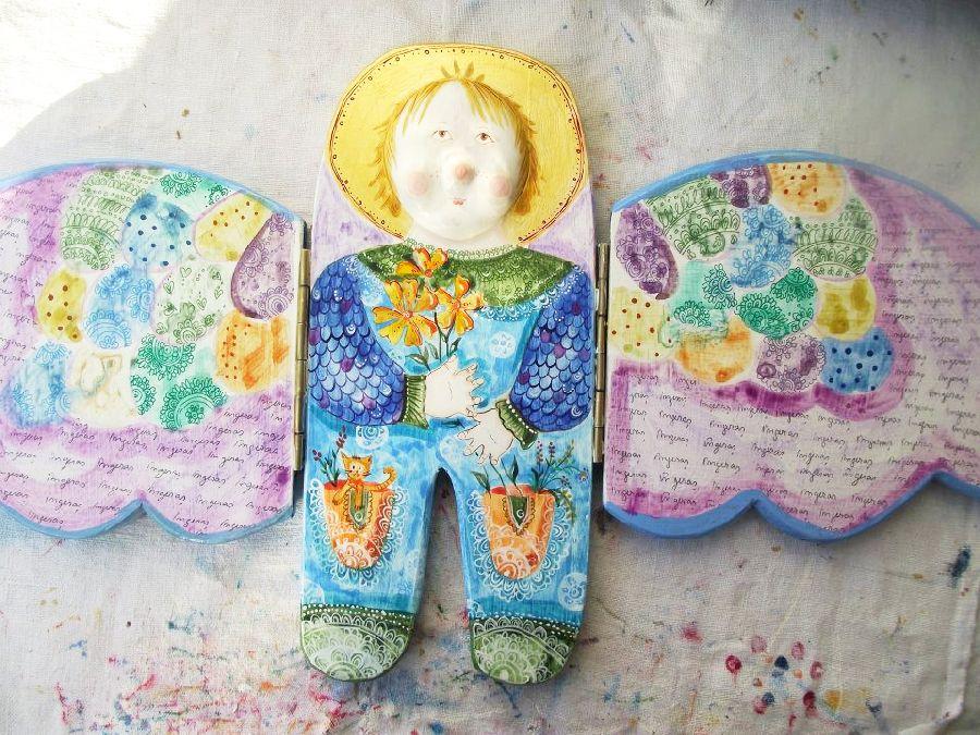 adelaparvu.com despre ingeri pictati, ingeri din lemn, artist Beatrice Iordan (11)