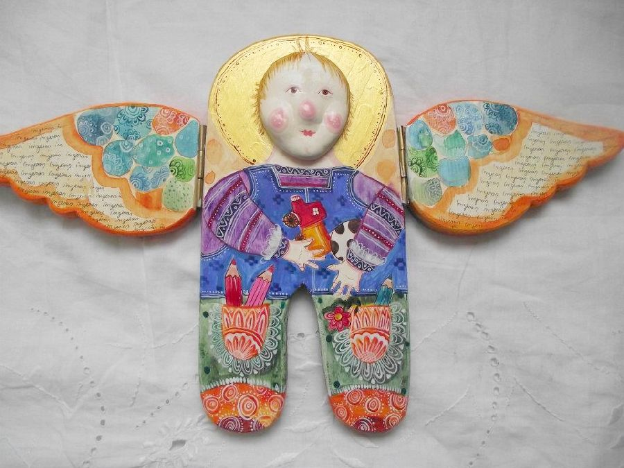 adelaparvu.com despre ingeri pictati, ingeri din lemn, artist Beatrice Iordan (15)