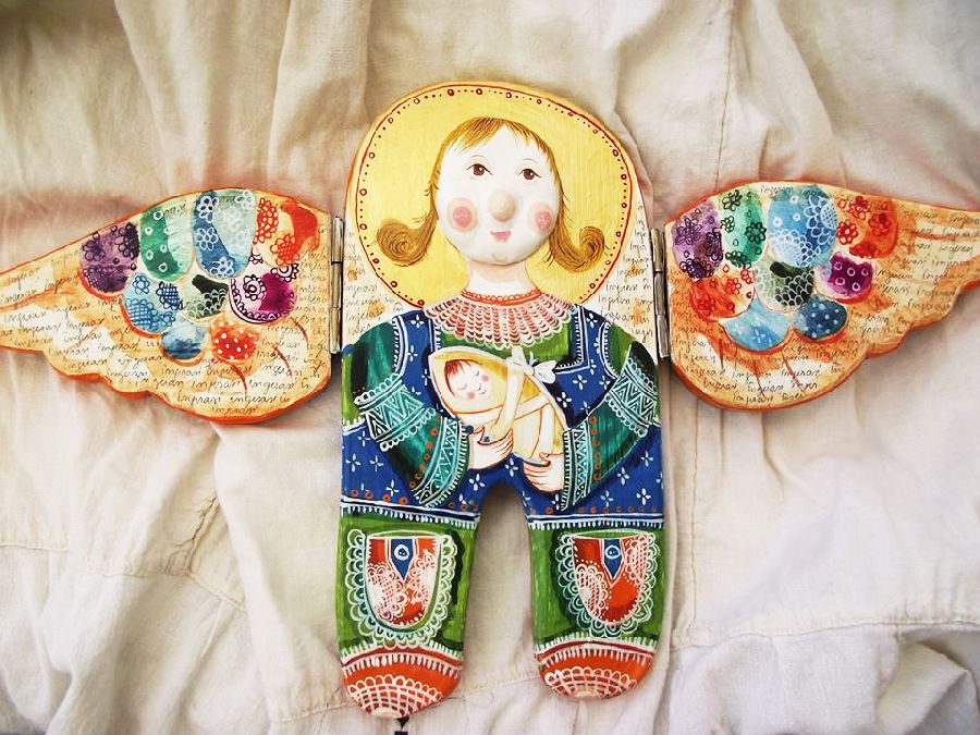 adelaparvu.com despre ingeri pictati, ingeri din lemn, artist Beatrice Iordan (43)