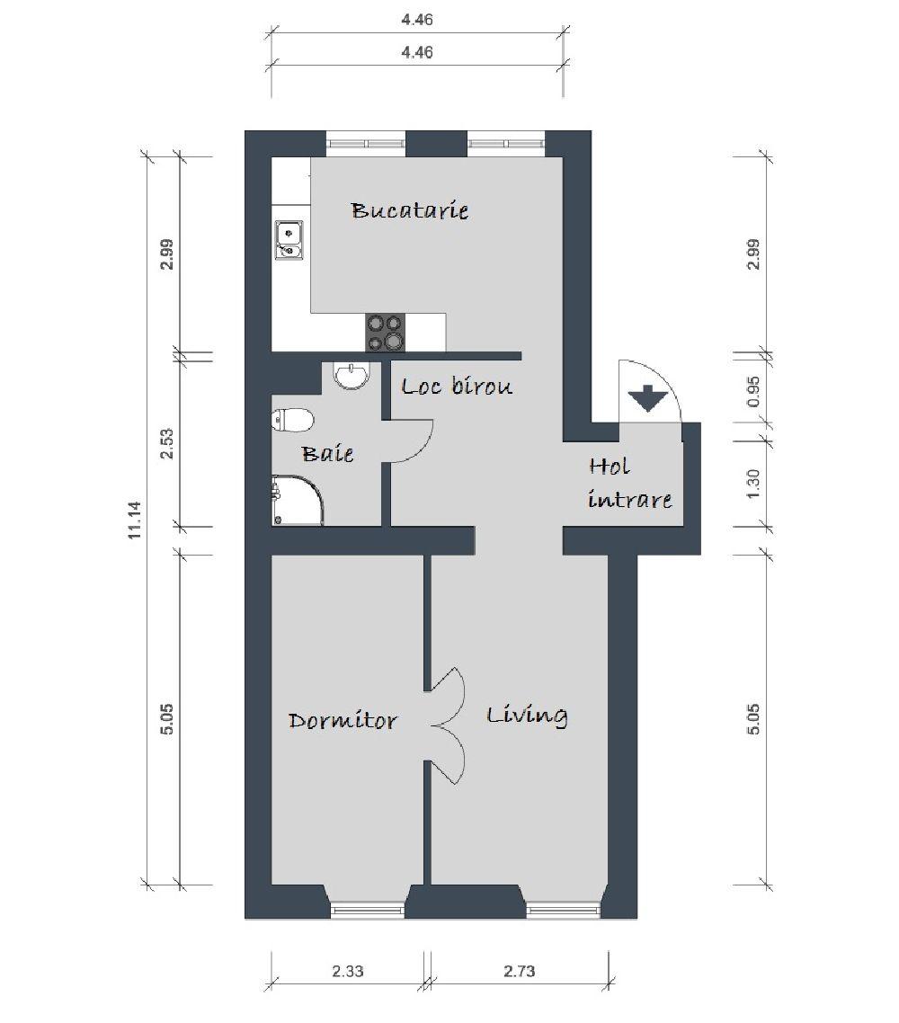 adelaparvu.com despre apartament 2 camere 51 mp Suedia, plan Foto Alvhem
