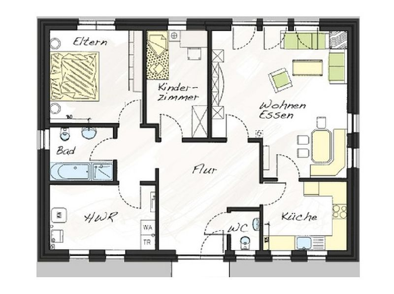 Model casa Prolife100, 99,25 mp, 3 camere, Proiect Haus xxl