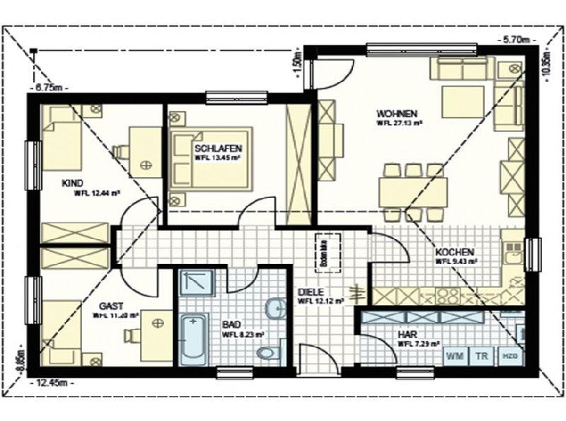 Model casa bungalow-3-100R, Suprafata 100 mp, 4 camere,  Proiect Haus xxl