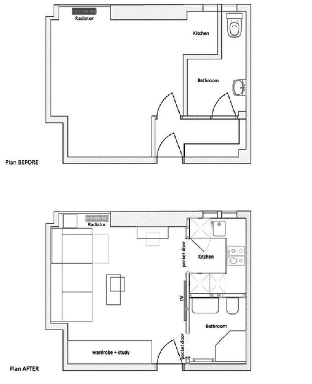 adelaparvu.com despre amenajare garsoniera de 25 mp, DesignerOlga Alexeeva, Foto Design Studio Black & Milk Residential  (2)