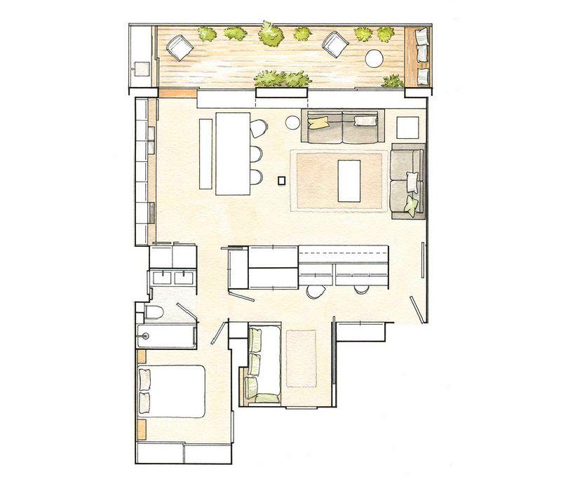 adelaparvu.com despre amenajare apartament 67 mp cu birou pe hol, design interior arh Mar Macos, Foto ElMueble (12)