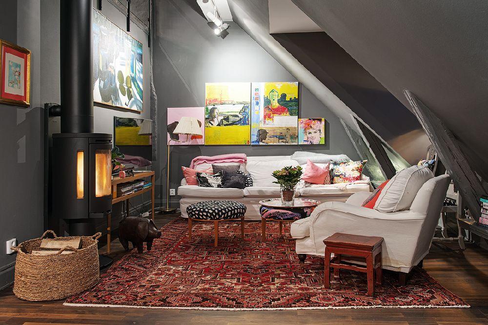adelaparvu.com despre locuinta la mansarda cu pereti gri inchis, loft 120 mp Suedia, Foto Alvhem makleri (15)