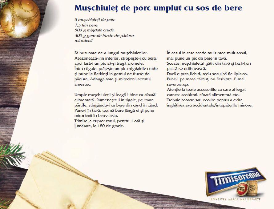 adelaparvu.com despre Sarbatori acasa cu Timisoreana, retete cu bere gatite de Marius Tudosiei, Muschiulet porc