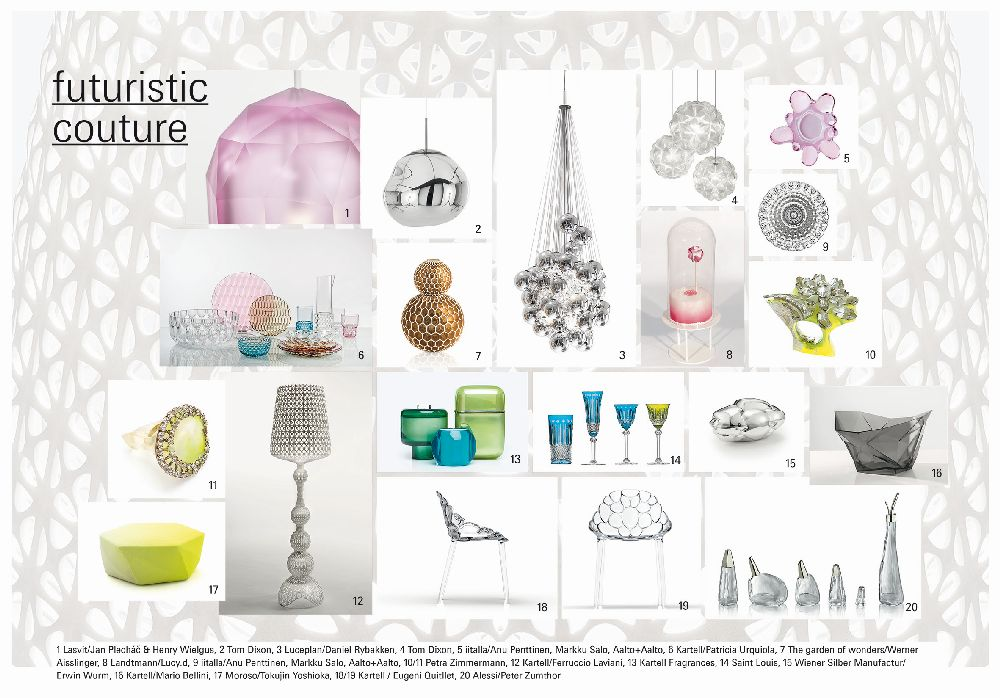 adelaparvu.com despre Interior Design Trends 2016, Ambiente mood board, Trend Futuristic Couture