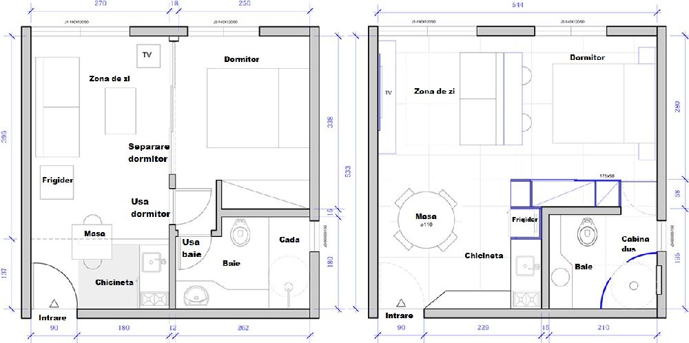 adelaparvu.com despre garsoniera 29 mp, design interior arh. Felipe Campolina, plan cu modificari
