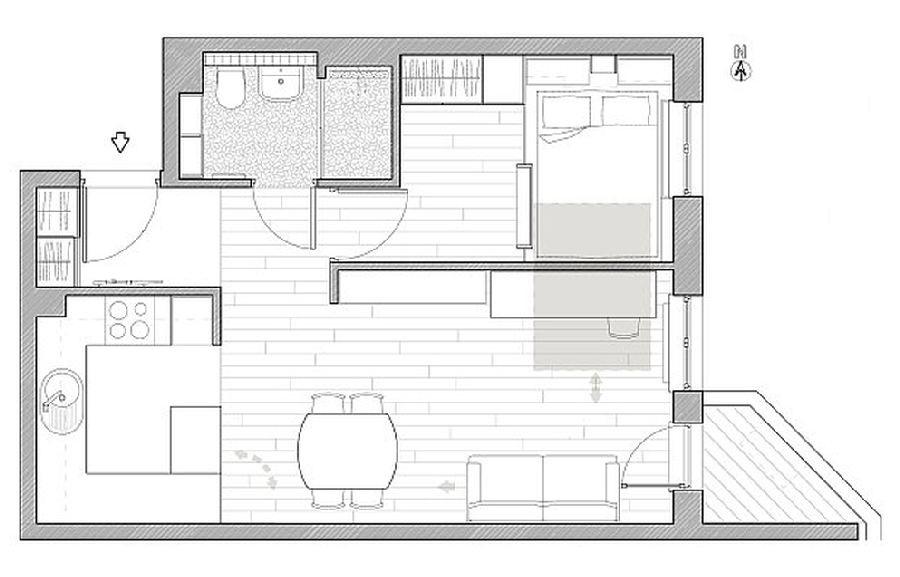 adelaparvu.com despre apartament 41 mp cu doua paturi matrimoniale, design interior arh Daria Pietryka (12)