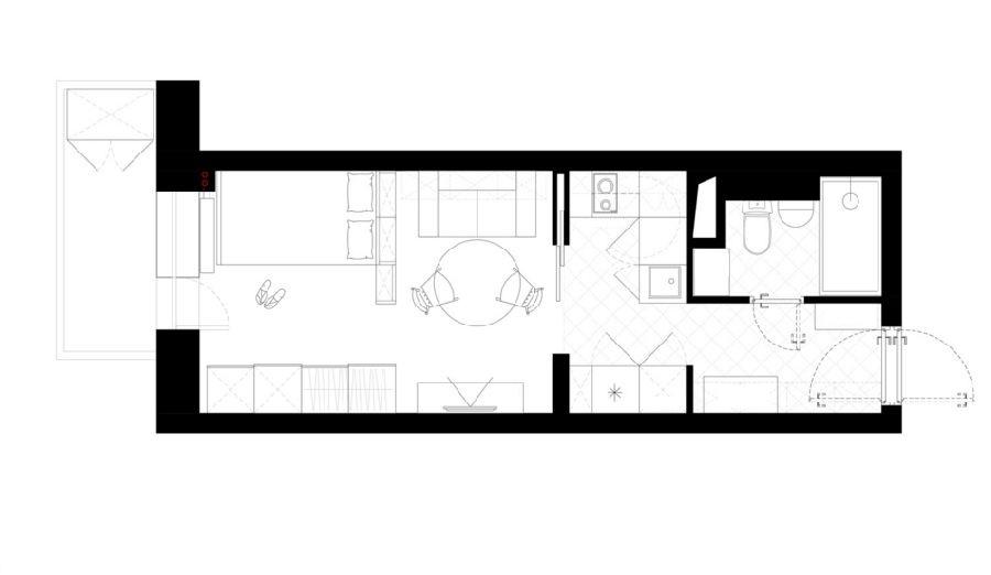 adelaparvu.com despre proiect garsoniera 25 mp, spatiu lung si ingust, design interior Zukkini (15)