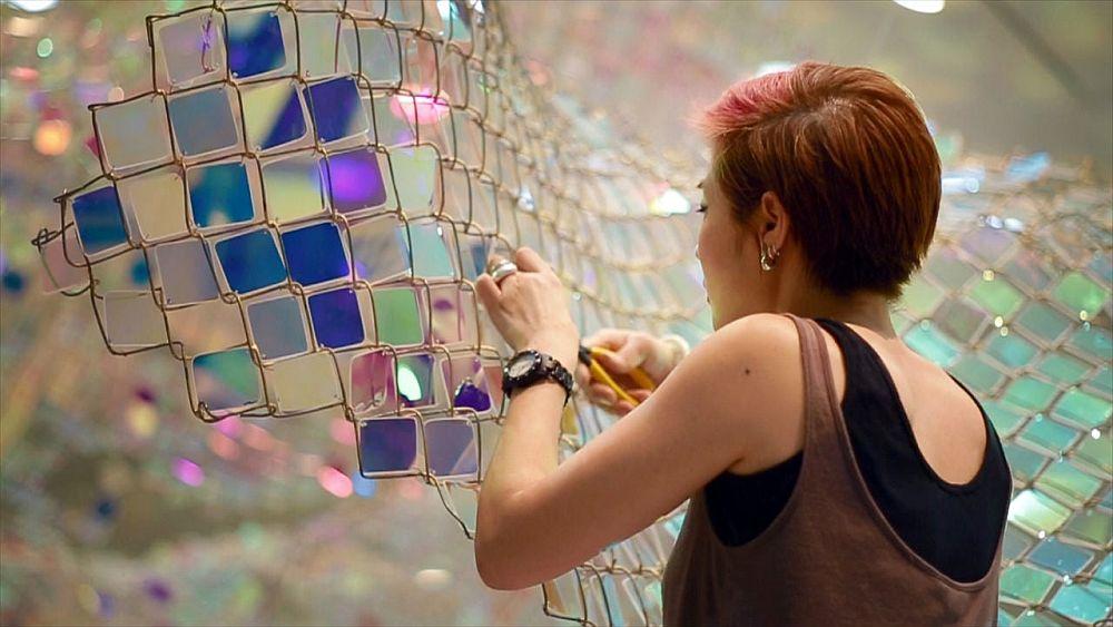 adelaparvu.com despre gard de sarma ca opera de arta, Unwoven Light, artist Soo Sunny Park , Rice University Art Gallery (2)