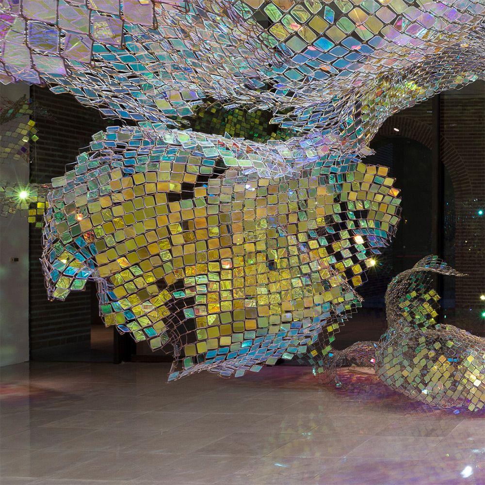 adelaparvu.com despre gard de sarma ca opera de arta, Unwoven Light, artist Soo Sunny Park , Rice University Art Gallery, Foto Nash Baker