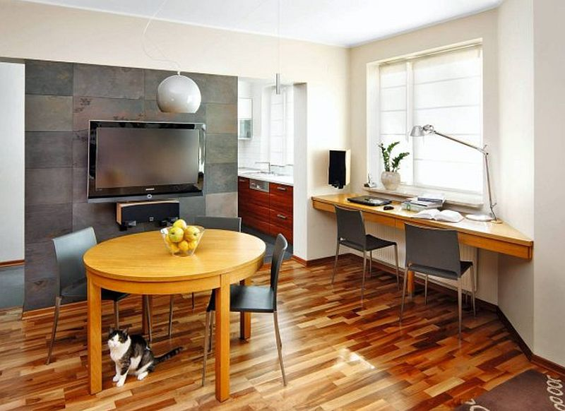 adelaparvu.com despre living cu birou si loc de masa, design Kreativa, Foto Rafal Lipski (1)