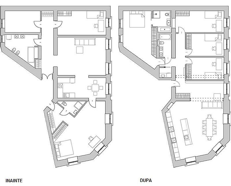 adelaparvu.com despre transformare locuinta 145 mp, design Kropka Studio, plan