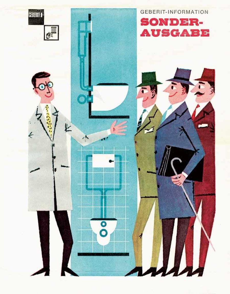 Alte invenții din domeniul instalațiilor au urmat, respectiv folosirea polietilenei pentru fabricarea tubulaturii și țevilor dedicate băilor și bucătăriilor, dar și pentru uz industrial. În 1953, nepoții lui Caspar Gebert, deci a treia generație a familiei, a schimbat numele companiei stabilindu-l ca marcă înregistrată sub denumirea de Geberit. În 1964 a fost prezentat pentru prima dată rezervorul îngropat pentru vasul wc, iar în 1977 a fost dezvoltat sistemul complet pentru rezervor îngropat, care a devenit azi, cel puțin în industria HoReCa un standard în amenajarea băilor (pe când la noi este încă cumva la începuturi).