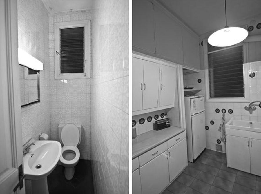 Baia și bucătăria înainte de reamenajare. Ăn baie nu exista loc pentru duș sau cadă, iar bucătăria este organizată cu mobilă pe partea comună cu sufrageria actuală
