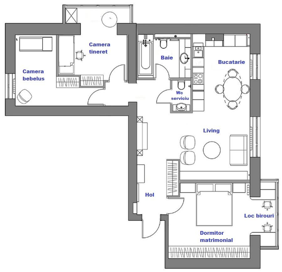 Planul apartamentului după reamenajare