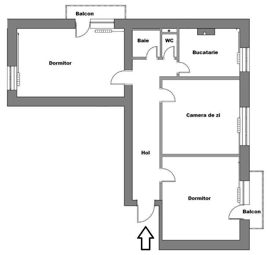 Planul apartamentului înainte de reamenajare