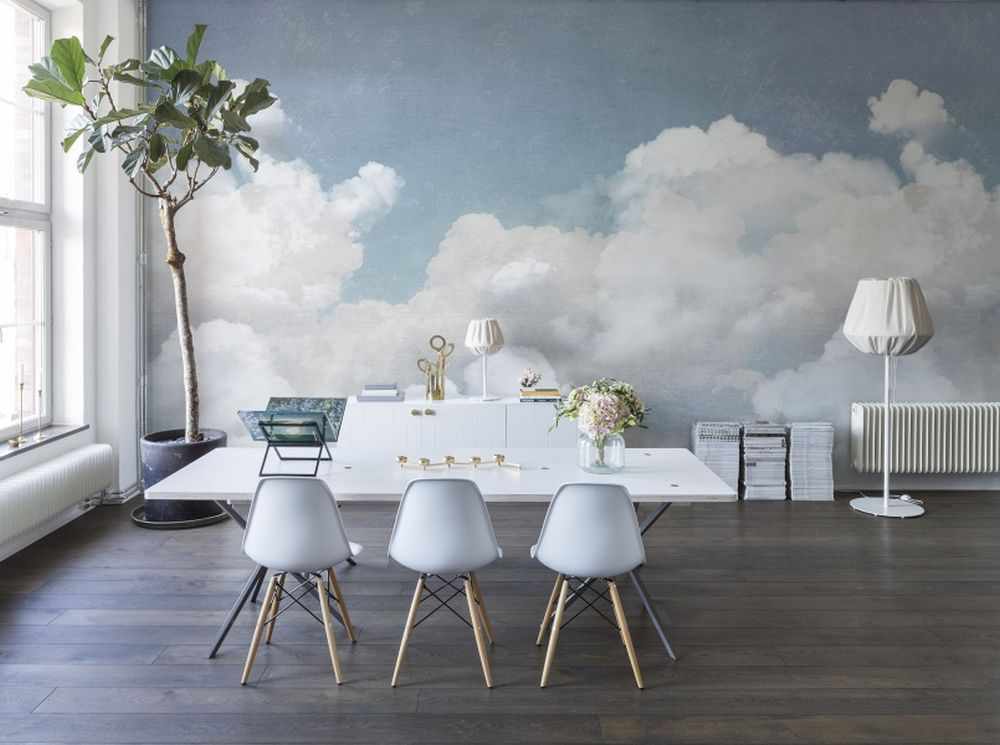 Tapet cu nori care arat ca o pictur mural adela p rvu for Cloud wallpaper mural